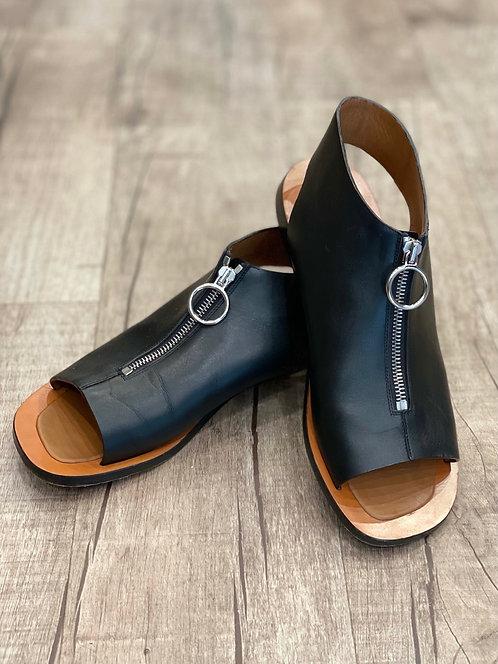 Celine Leather Zip Front Sandals