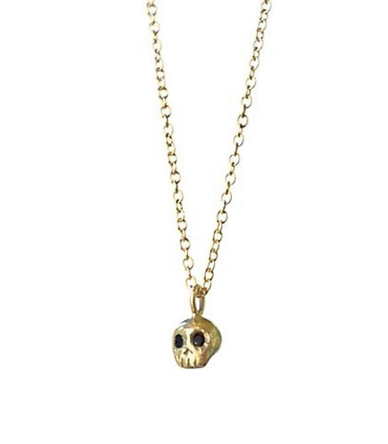 Acanthus Black Diamond Gold Skull Necklace