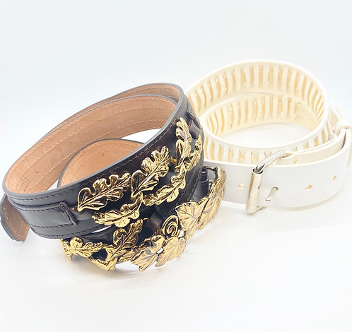 Etro Leather Belt & Sofie D'hoore Leather Ridge Belt