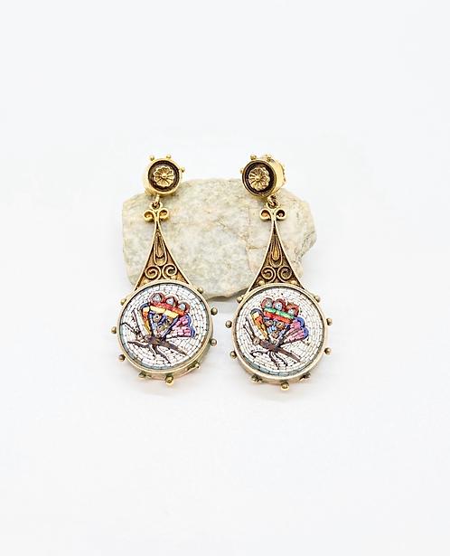 Late 1800's Butterfly Micro-Mosaic Earrings