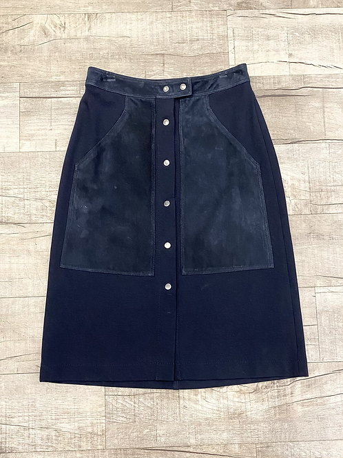 Theory Suede Button Front Skirt