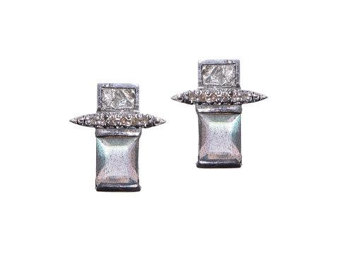 Shana Gulati Labradorite Rectangle Sliced Diamond Earrings