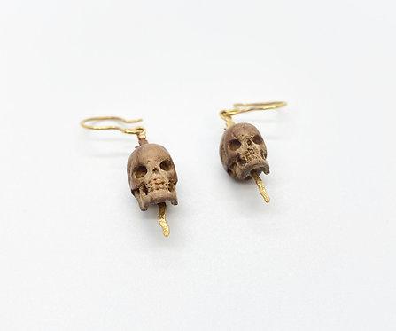 Lou Zeldis Wooden Hand Carved Skulls Earrings