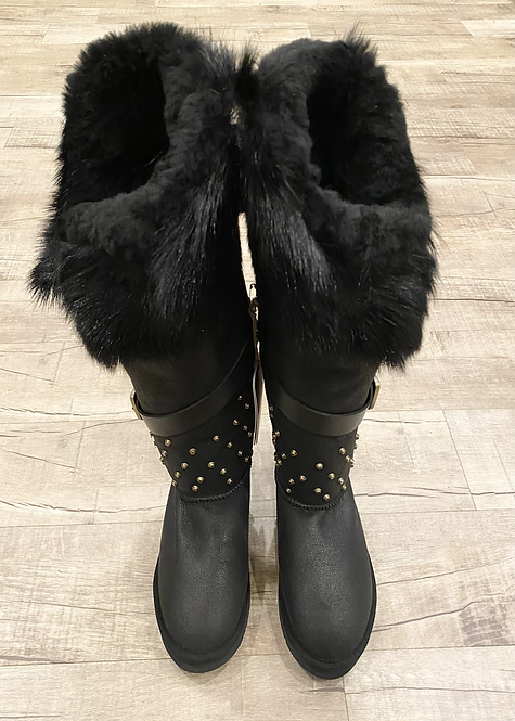 Mou Fur Leather Studded Buckle Boot