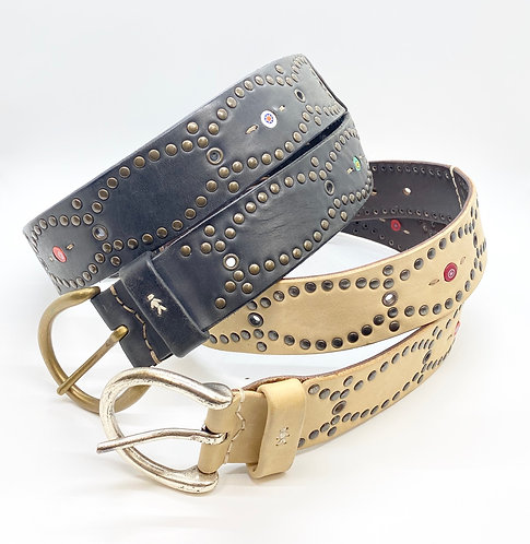 Henry Cuir Studded Belt with Beads
