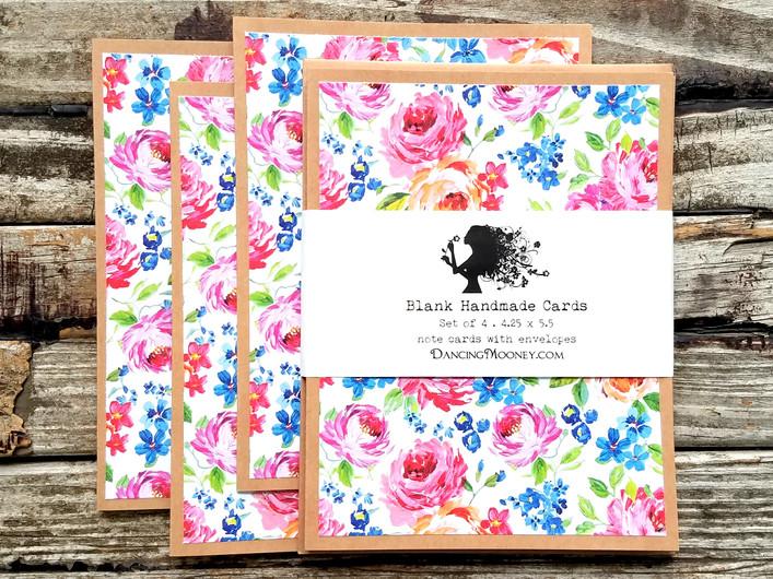 pink rose floral note cards set