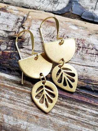 modern leaf earrings