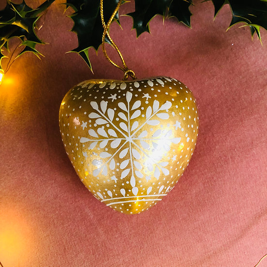 Gold snowflake heart hand painted bauble