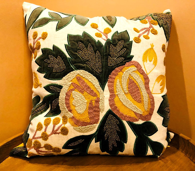 Embroidered and beaded floral cushion