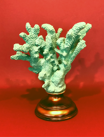 Turquoise coral objet d'art and candle holder