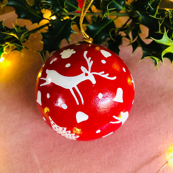 red and white large hand painted bauble