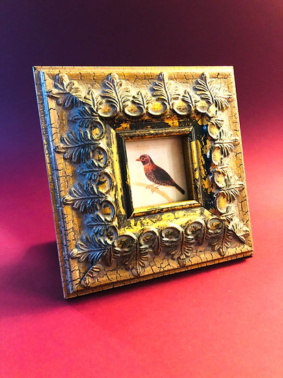 Bird print in ornate gold distressed frame