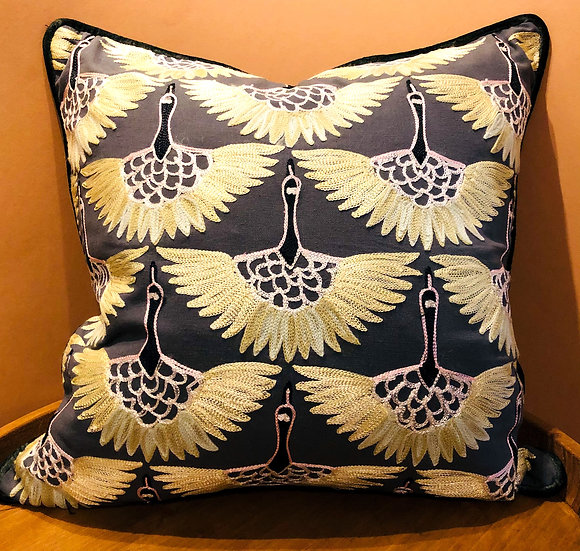 Flying swan grey and lemon yellow embroidered cushion
