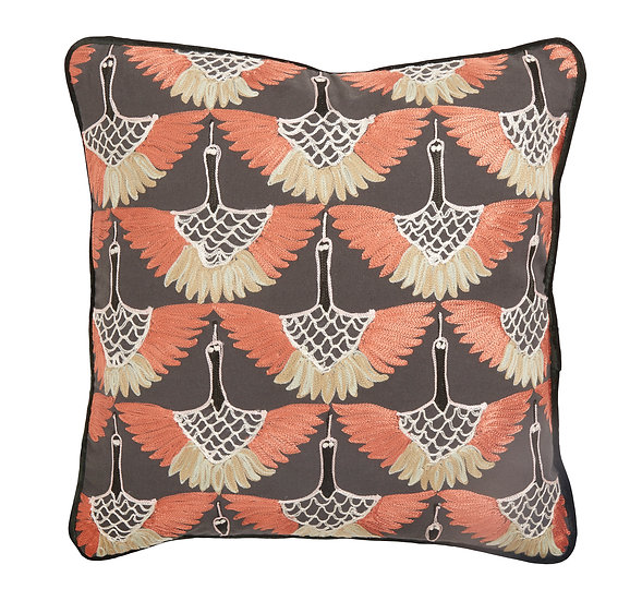 Grey and orange swan cushion