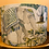 Thumbnail: Elephant and palm printed linen fabric drum lampshade large