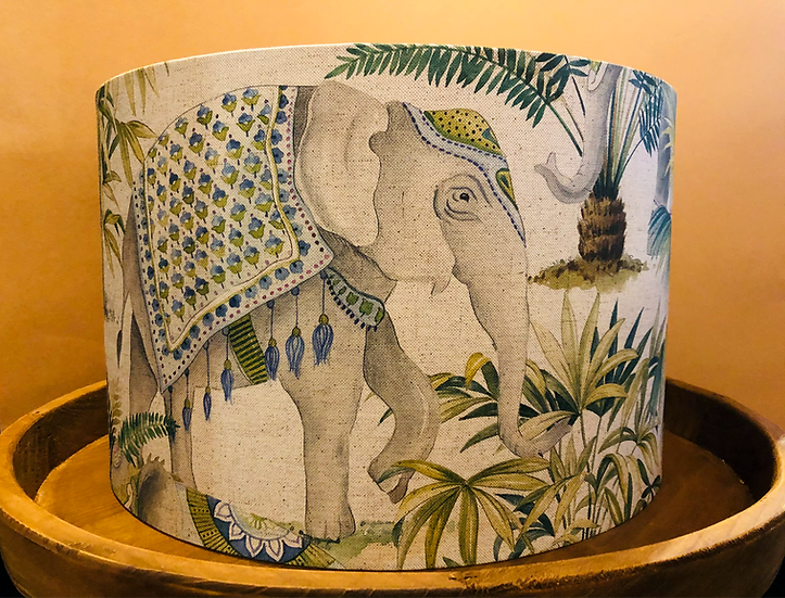 Elephant and palm printed linen fabric drum lampshade large