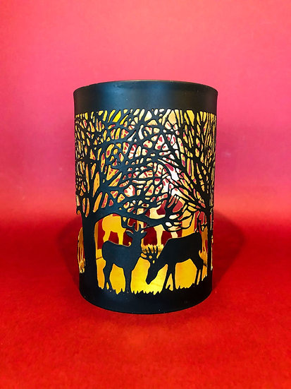 Medium stag and forest tealight holder
