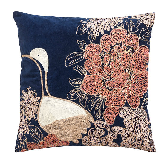 Dark blue sequin and embroidered bird velvet cushion cover