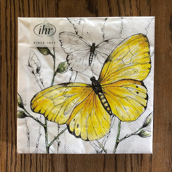 Napkins white and yellow butterflys
