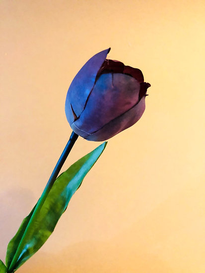 Faux Deep purple tulip stem