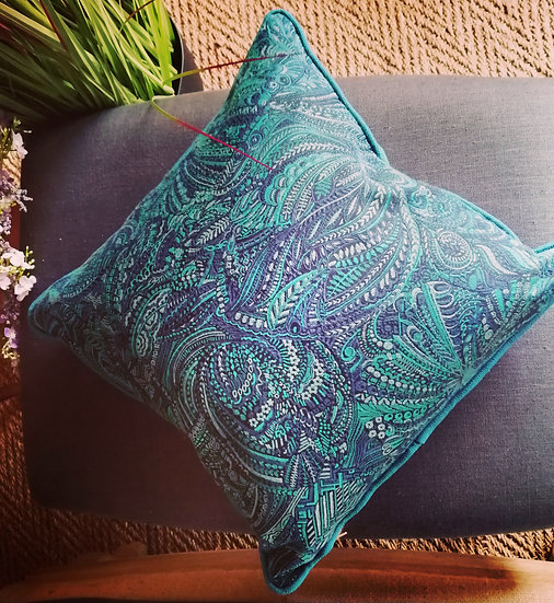 Teal double sided woven fabric cushion