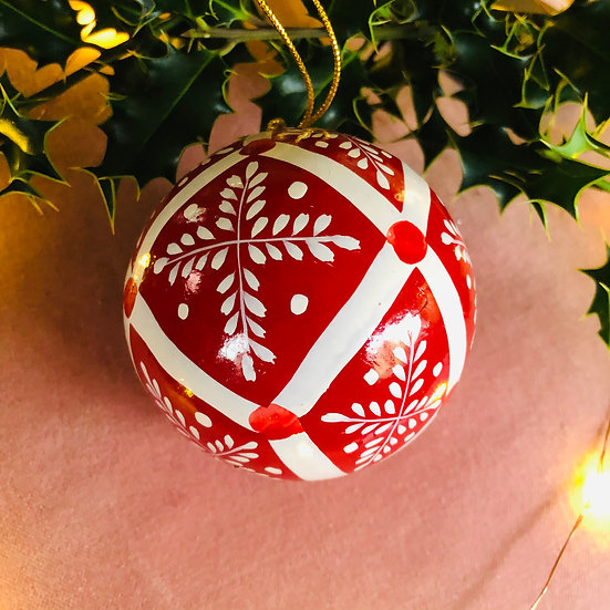 Red and white snowflake hand painted bauble