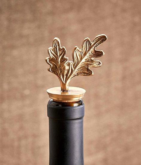 Nkuku Oak leaf brass bottle stopper