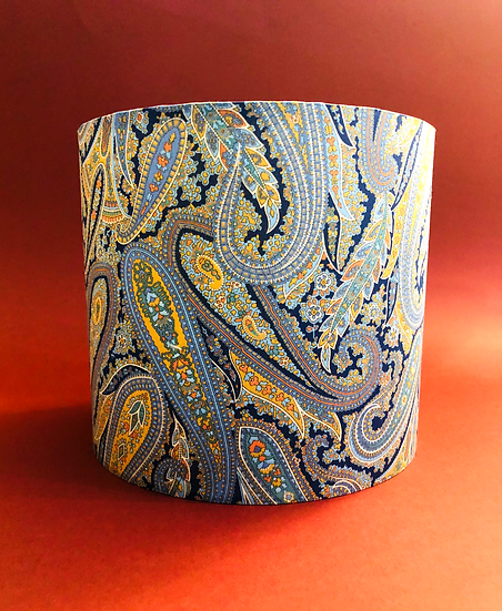 Small Blue paisley drum lampshade.