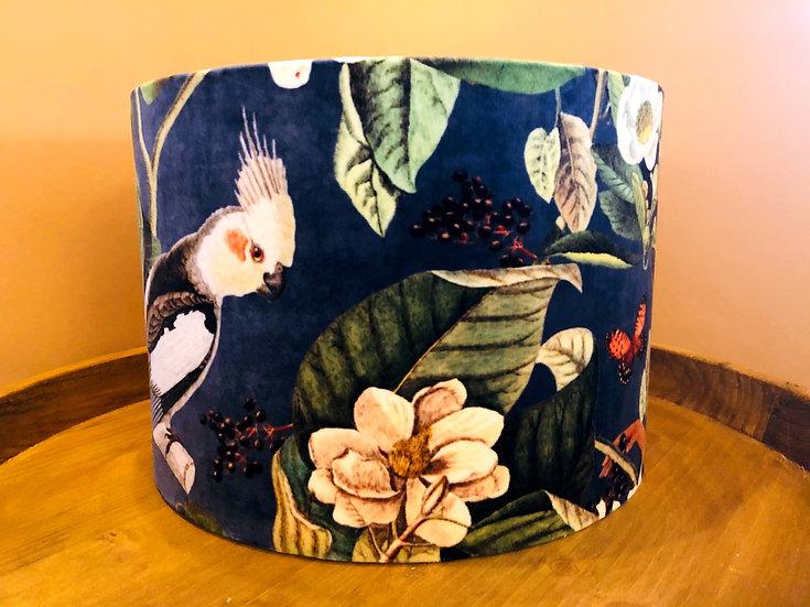 Tropical bird and monkey velvet drum lampshade medium