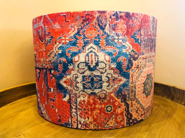 Red Kilim design drum lampshade medium