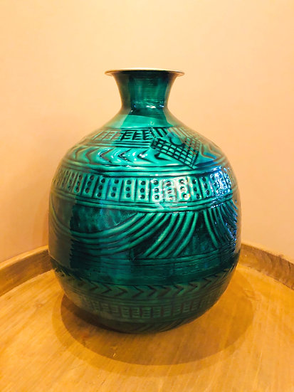 Green and brass embossed round vase