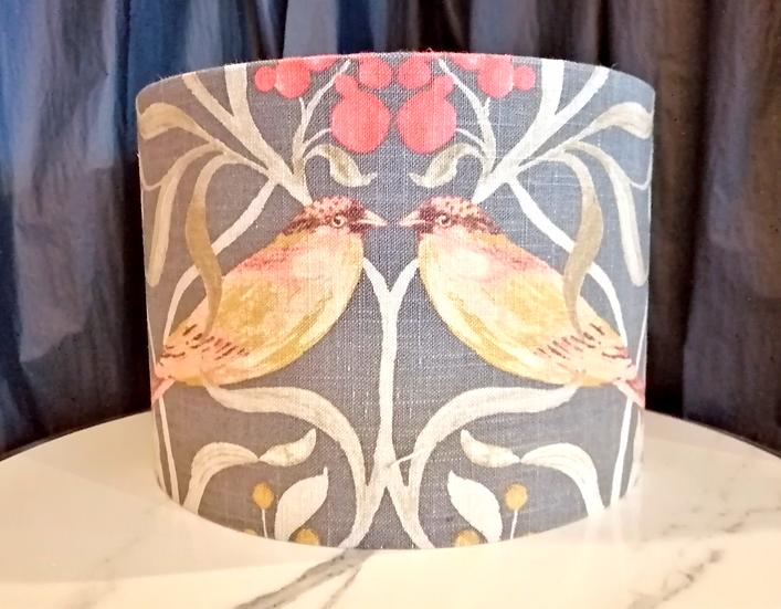 Medium grey and plum bird lampshade
