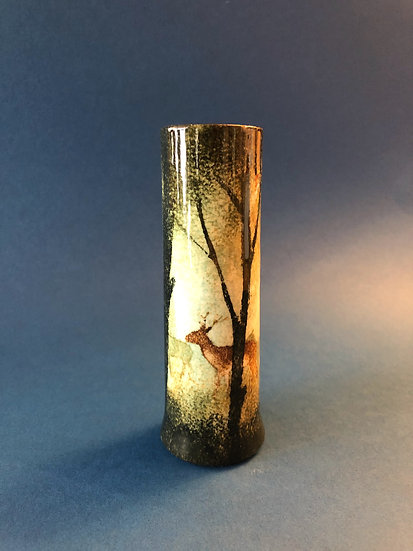 Ralph Jandrell small deer cylinder vase