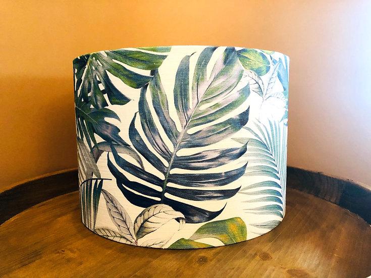 Palm and leaf design drum lampshade medium