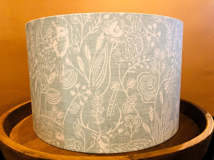 Duck egg blue country animal drum lampshade large