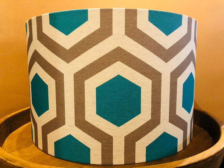 Jade geometric printed fabric drum lampshade large.