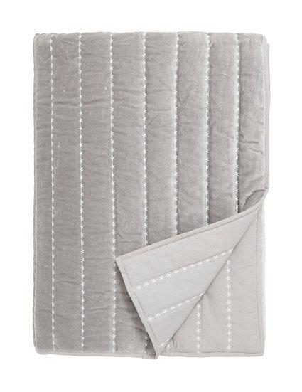 Dusty grey velvet quilt large