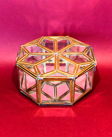 Bequai star trinket box glass and brass.