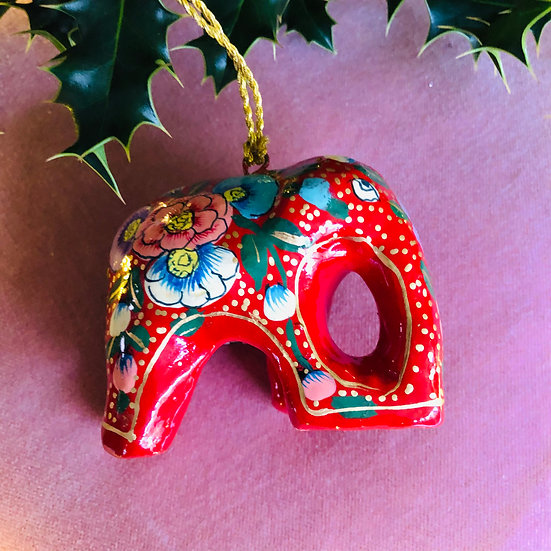 Red hand painted elephant decoration
