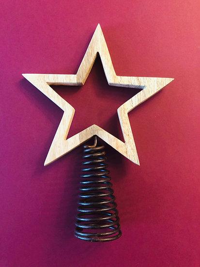 Wood star tree topper