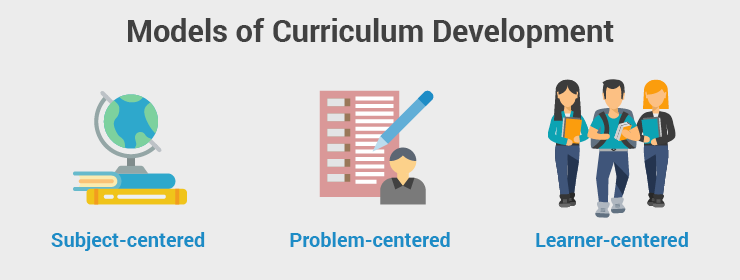 The most prominent models of curriculum development are subject-centered, problem-centered, and learner-centered.