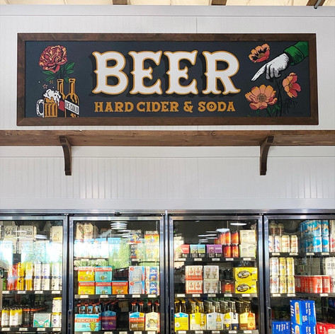 DIRECTIONAL BEER SIGN FOR SOUTH BEND LIQUOR