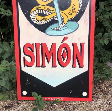 SAN SIMON BAR HANGING SIGN