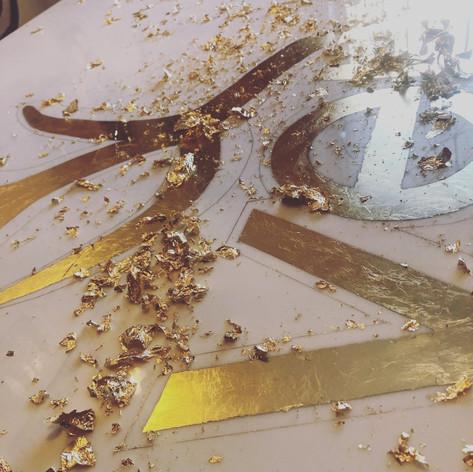 VELVET LOUNGE- GOLDLEAF LOGO SIGN ON PLEXI- GOLD GILDING PROCESS