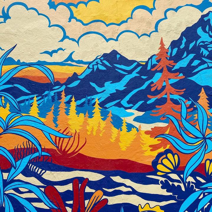 Dr. Jollys Mural Close up- Trees Mountai