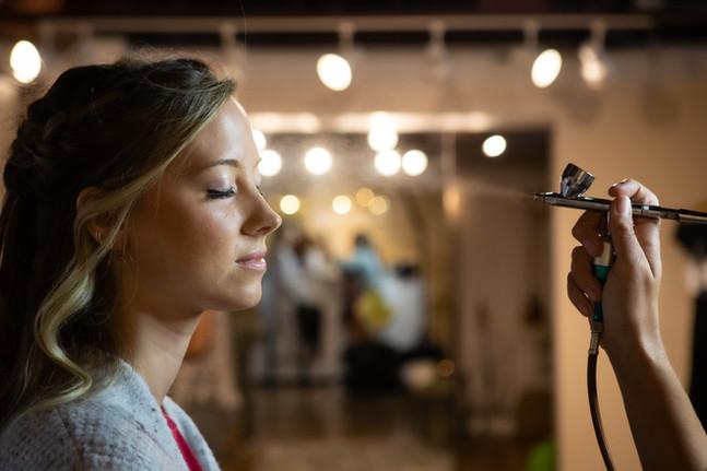 Airbrushing makeup artists