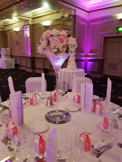 Martini glass centrepieces