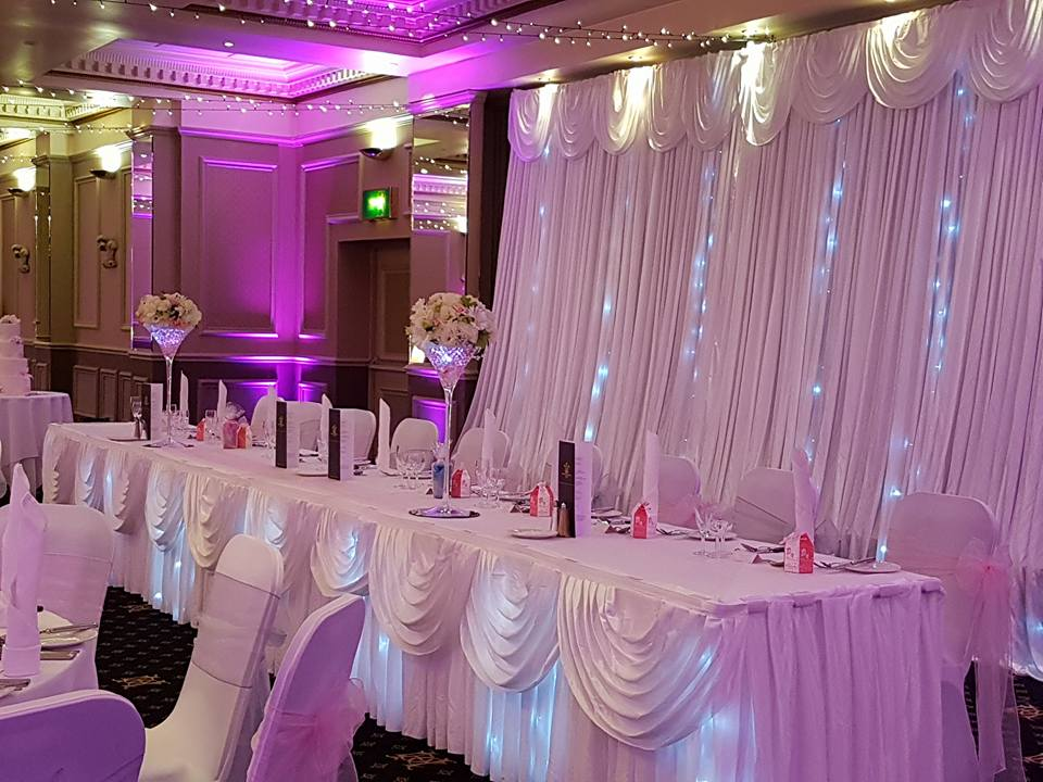 Fairylight backdrop, table skirt