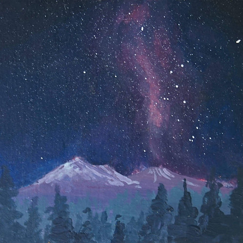 Starry Mt. Shasta Original Acrylic