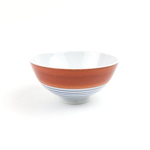 [50003]御飯茶碗大 横縞文・紅【5月17日(月)より順次発送】